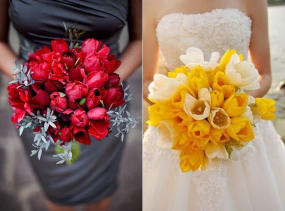tulpen für romantischen brautstrauß in geln und rot