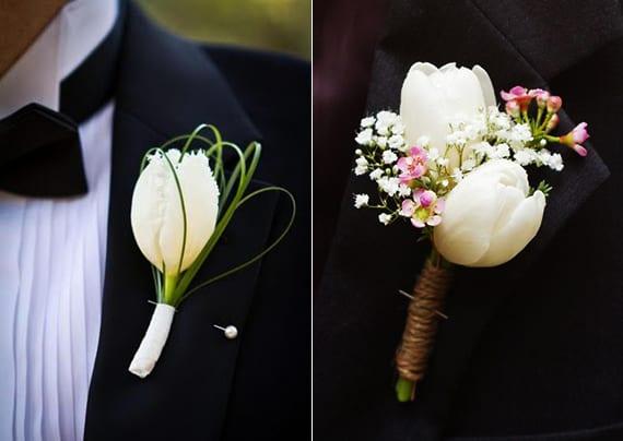 blumenschmuck mit weißen tulpen zur hochzeit