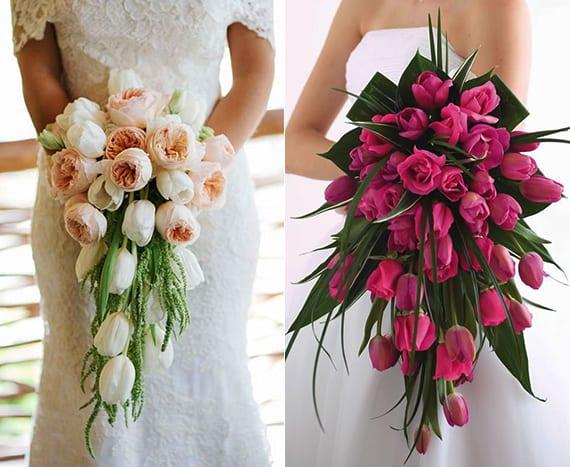wasserfall blumenstrauß mit tulpen, rosen und Ranunkeln und idee für blumendeko hochzeit in hellrosa oder dunkelrosa