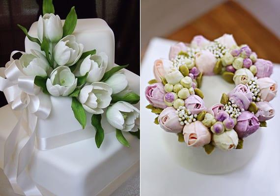 ideen für blumendeko hochzeit mit tulpen_hochzeitstorte mit tulpendeko