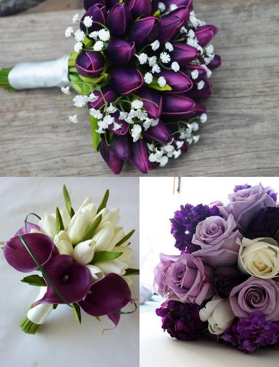 weiße und lilafarbige tulpen für blumendeko hochzeit und als inspiration für brautstrauß