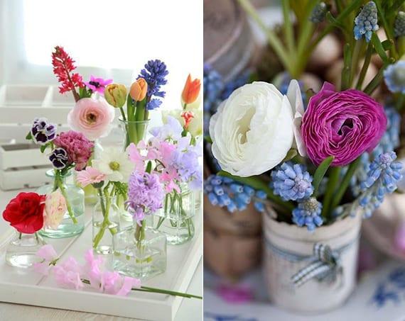 kleine glasvasen dekorieren mit frühlingsblumen in zarten lila und hellrosa farben als idee für tischdeko frühling
