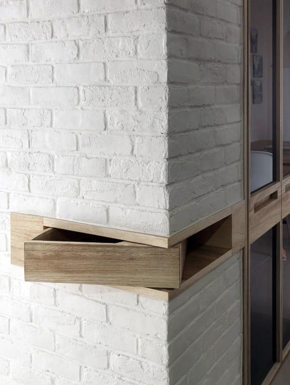 design inspiration für aufbewahrung in wand mit eingebauter schublade aus holz