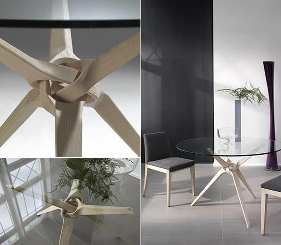 runder Esstisch glas mit holzbeinen als designinspiration moderner Esstische