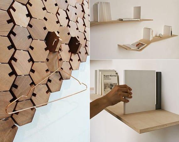 designinspiration für moderne bücherregalen und wandhacken aus holz als originelle wanddeko