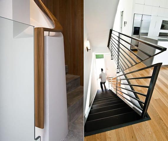 moderne geländer aus holz und metall als designinspiration für moderne innentreppen