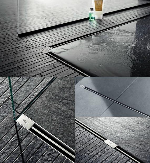 ideen für modernes badezimmer mit dusche und bodenbündige duschrinne aus edelstahl