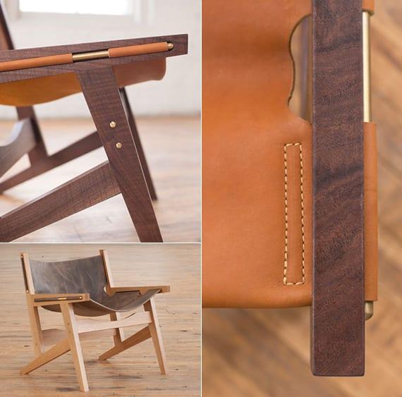 designinspiration ind deteils moderner Holzstühl mit Ledersitz