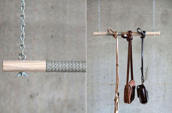 designinspiration für moderne garderobe aus kette, leder und holzstab