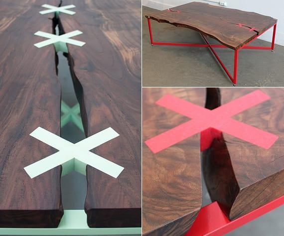 moderne couchtische aus massivholz und metallrahmen mit kreuzverbindung als detail der tischplatte