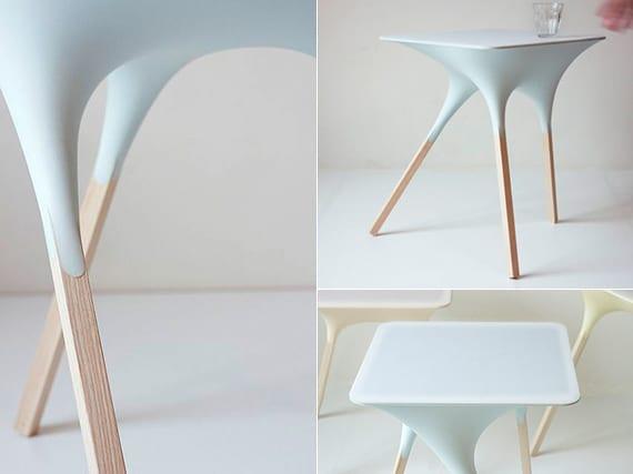 designinspiration für moderne hocker oder beistelltische aus harz mit Holzbeinen