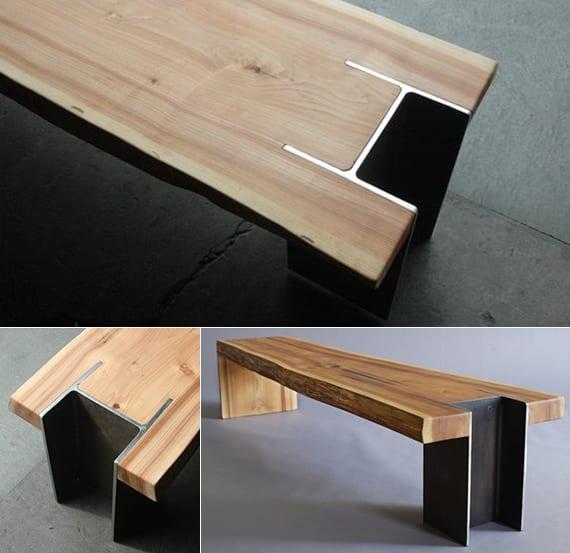designinspiration für moderne holzbänke_möbel details mit Metallprofilen