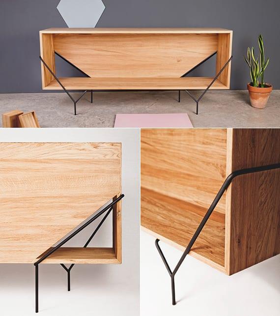 designinspiration für moderne sideboards und beistelltische aus holz mit grund aus stahlrahmen