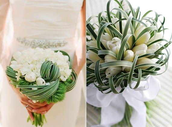 traditioneller brautstrauß in weiß mit tulpen als blumenschmuck zur weißen blumendeko hochzeit