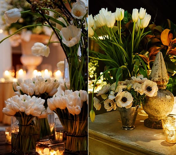 raffinierte blumendeko mit weißen tulpen für abendhochzeit