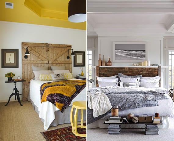 schlafzimmer inspiration für schlafzimmer gemütlich einrichten in vintage style mit diy kopfteil bett aus holz_gelbe und graue farben im schlafzimmer