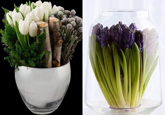 coole idee für vasen dekorieren mit weißen tulpen und zweigen