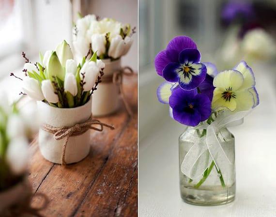 weiße tulpen und dunkelblauen Veilchen als frühlingsdeko fenster