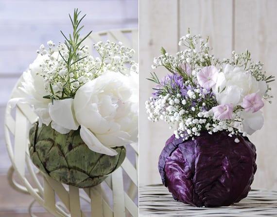 originelle vasen aus Artischocke und Rotkohl mit frühlingsblumen dekorieren als Tischdeko frühling