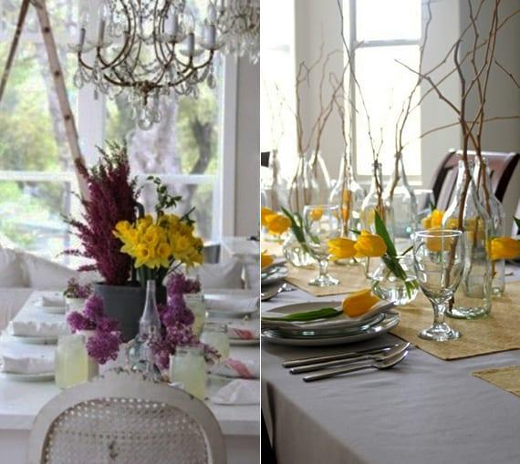 tischdeko ideen mit gelben tulpen und Zweigen im glas