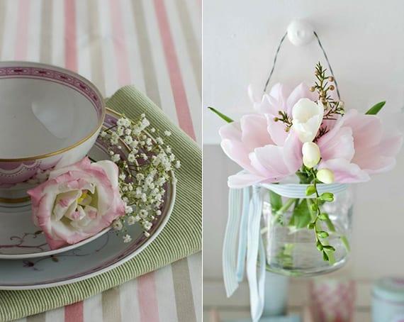 kreative dekoideen frühling mit zarten frühlingsblumen