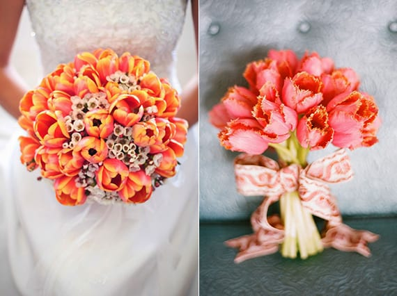 tulpen in korallfarbe für eine besondere blumendeko hochzeit und einen wunderschönen brautstrauß