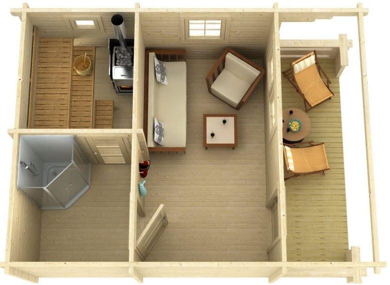 wohnen und garten_das moderne gartenhaus mit sauna, dusche und wohnzimmer
