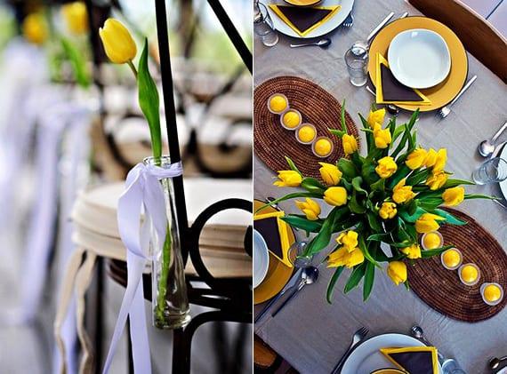 raffinierte blumendeko hochzeit in gelb_tulpe gelb als fantastische tischdeko und hochzeit stuhldeko
