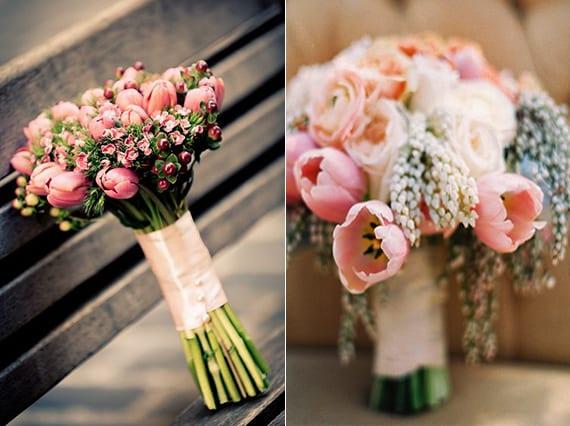 passender blumenstrauß mit tulpen zu einer frühlingshochzeit in rosa farbe