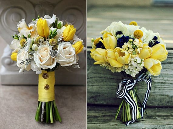 blumendeko hochzeit und brautstrauß ideen mit gelben tulpen, weißen blumen und billy balls