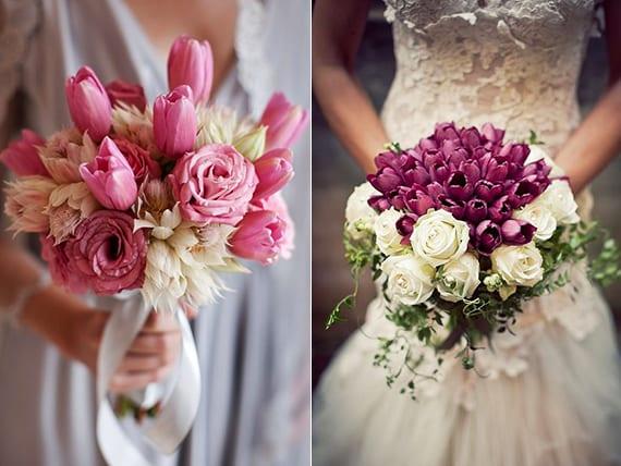 blumenschmuck und blumendeko ideen mit rosen und tulpen