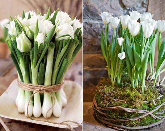 tischdeko frühling mit tulprn und zwiebel oder mit tülpen und moos