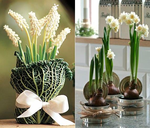 tisch kreativ dekorieren mit weißen frühlingsblumen