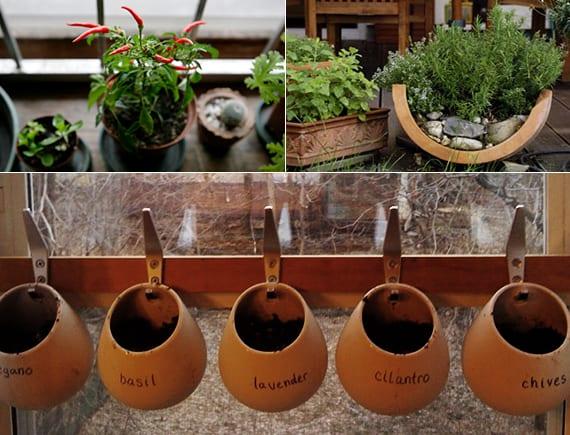 mein kräutergarten anlegen im innenraum_kreative idee für kräutertöpfe