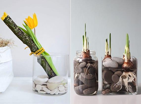 kreative frühlingsdeko selber machen mit Blumen, holz und steinen_glasvasen dekorieren kreativ für tischdeko frühling
