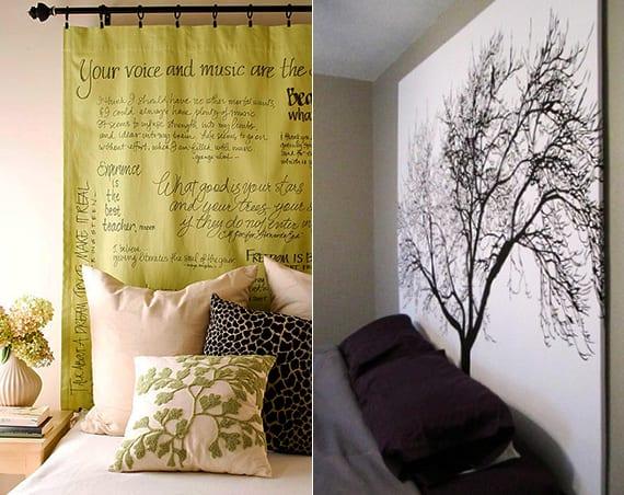 Vorhang-Kopfteil selber machen und schlafzimmer kreativ gestalten_ wandgestaltung schlafzimmer mit gardiene grün und mit schwarzweißem bild mit baum als DIY Bett Rückwand