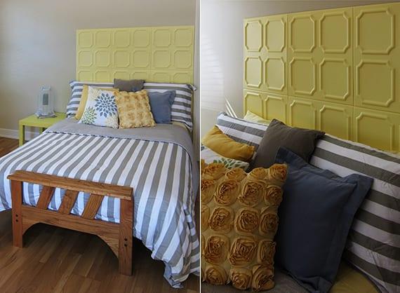coole bastelidee für diy Bett kopfteil aus Styroporplatten als coole Schlafzimmer inspiration