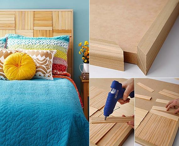schlafzimmer inspiration für diy bett rückwand aus holzkeilen