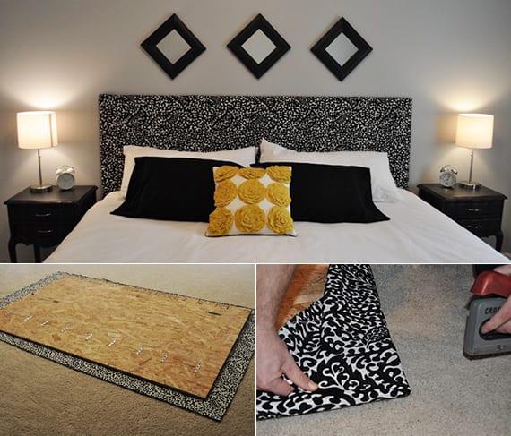 modernes schlafzimmer design gestalten mit diy bett kopfteil in schwarz_wandgestaltung schlafzimmer mit schwarzen holzrahmen und selbstgemachtem bett Rückwand