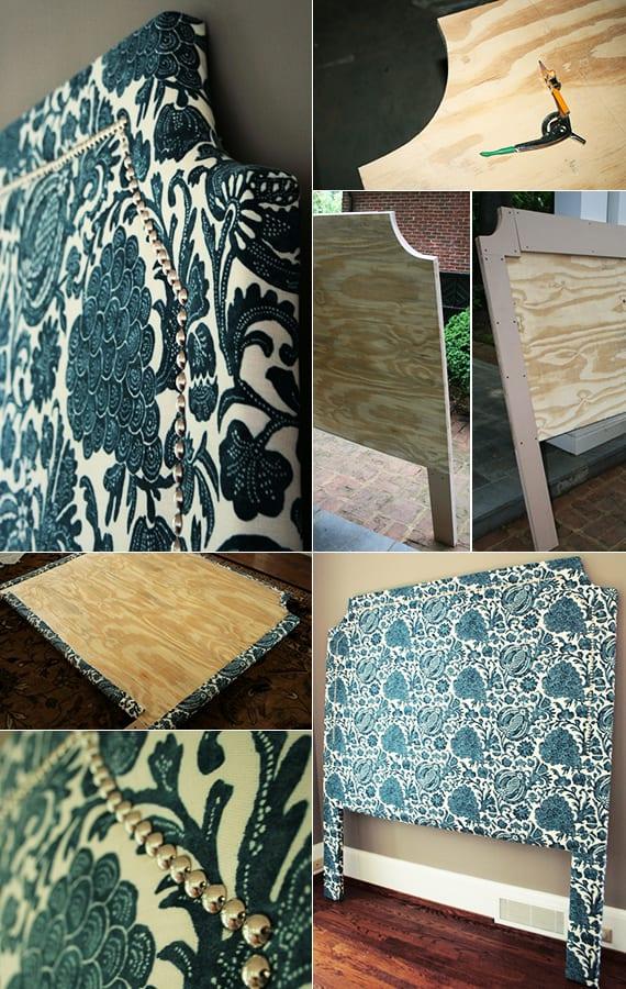 schlafzimmer gestalten in blau_coole bastelidee für diy bett kopfteil