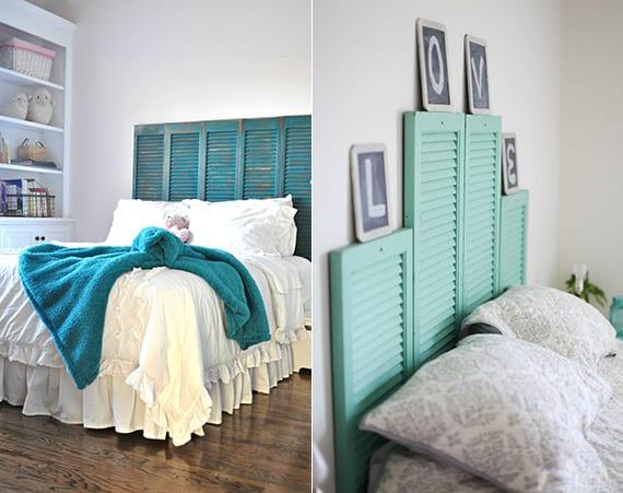 schlafzimmer ideen für frisches schlafzimmer design mit blau gestrichenen fensterläden als DIY Bett kopfteil