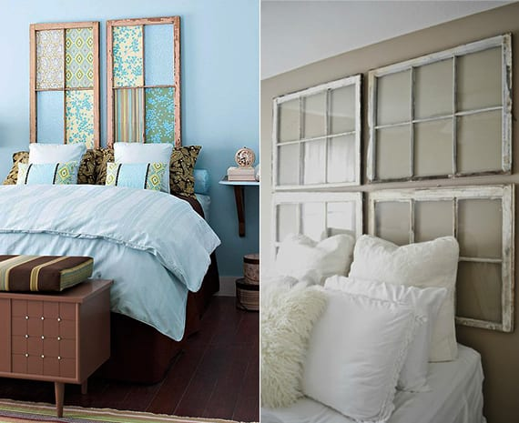 bett rückwand selber machen aus alten holzfensterrahmen als coole schlafzimmer inspiration für wandgestaltung blauer und grauer wandfarbe schlafzimmer