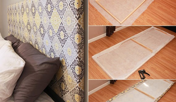 schlafzimmer ideen f r bett kopfteil selber machen aus holzrahmen und textil freshouse. Black Bedroom Furniture Sets. Home Design Ideas