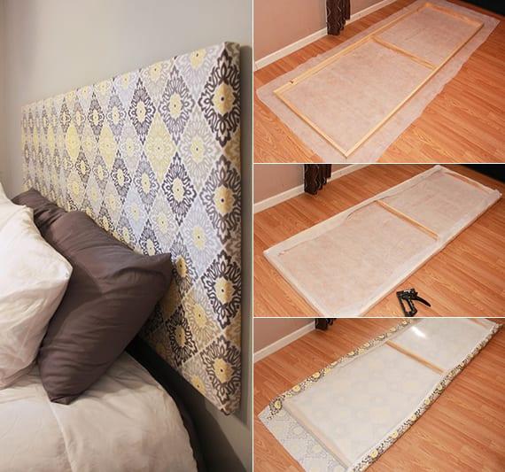 bett kopfteil selber machen aus holzrahmen und stoff als coole schlafzimmer inspiration