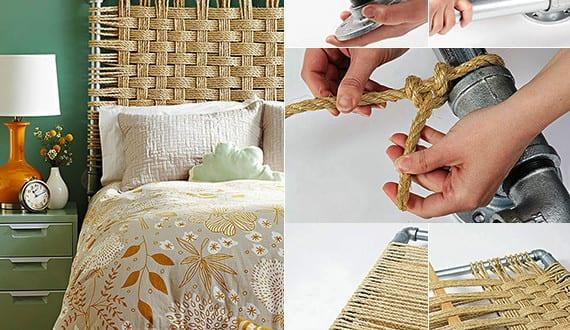 schlafzimmer ideen f r bett kopfteil selber machen aus metallr hren und seile freshouse. Black Bedroom Furniture Sets. Home Design Ideas