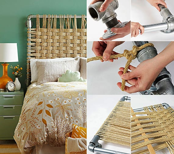 schlafzimmer inspiration mit wandfarbe grün und diy bett kopfteil aus metallröhren und seil