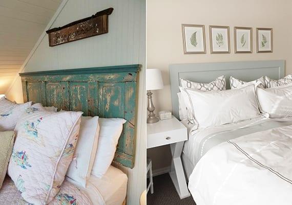 modernes oder rustikales schlafzimmer design gestalten durch DIY kopfteil fürs bett aus holztüren
