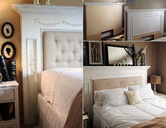 schlafzimmer dekorieren mit diy kopfteil fürs bett aus kaminsims