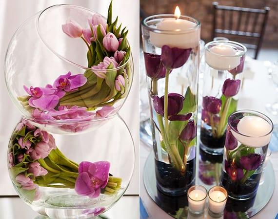 blumen im glas_raffinierte und moderne blumendeko mit tulpen als hochzeit dekoidee