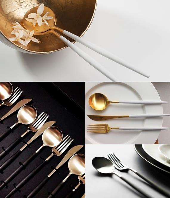 modernes besteck in gold und weiss und Besteckteile in schwarz und gold für modernes Eindecken vom tisch